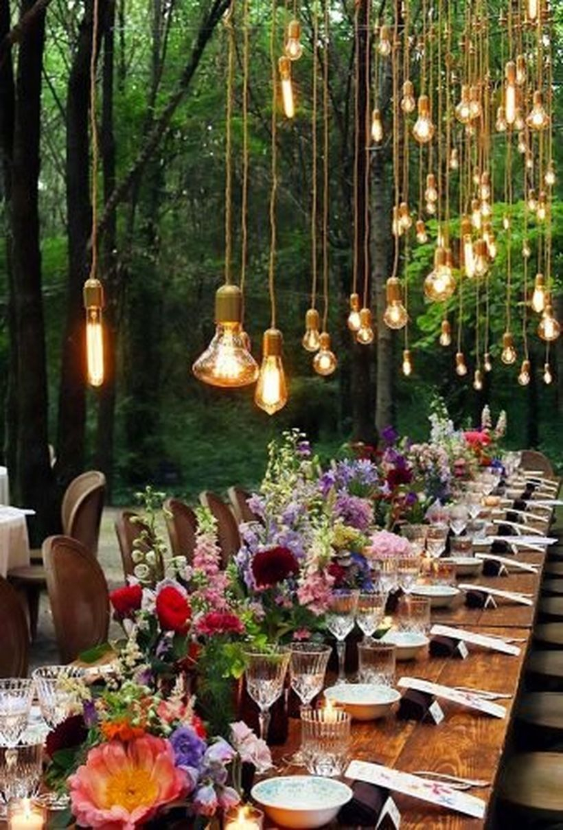Hanging lamps and colorful flowers wedding ideas