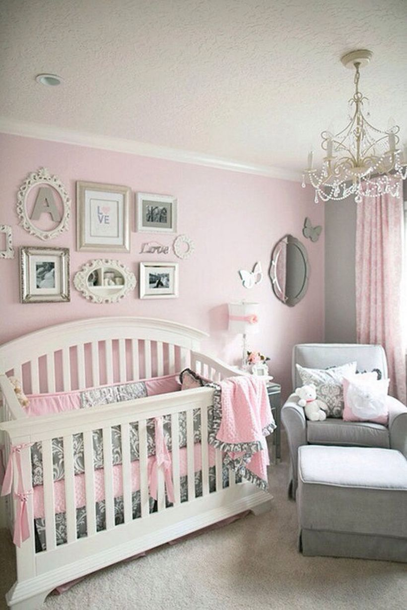 Pink-and-gray-baby-girl-nursey-room-ideas-with-wooden-white-baby-bed-and-photo-gallery-small-butterfly-as-wall-decoration-your-room