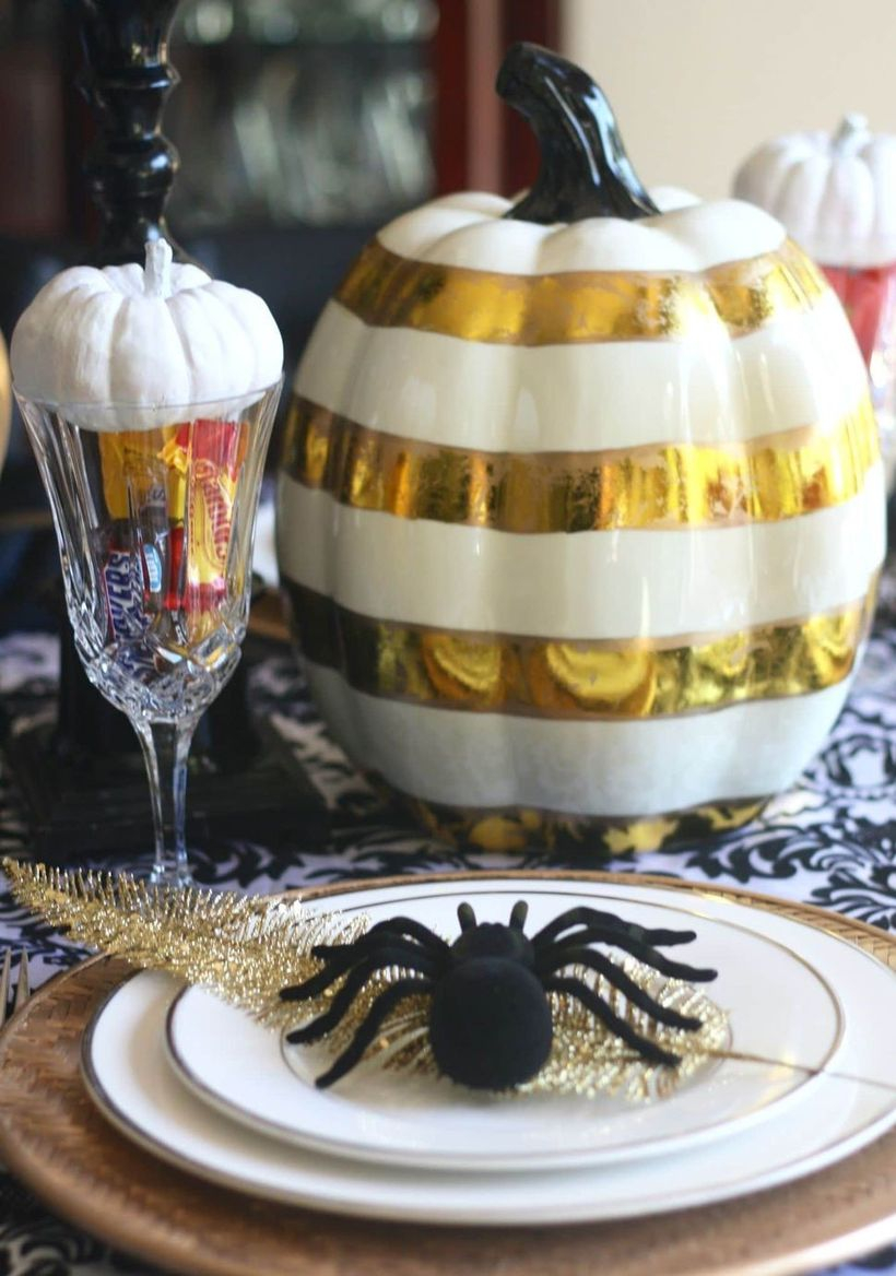 White and gold pumpkin centerpiece