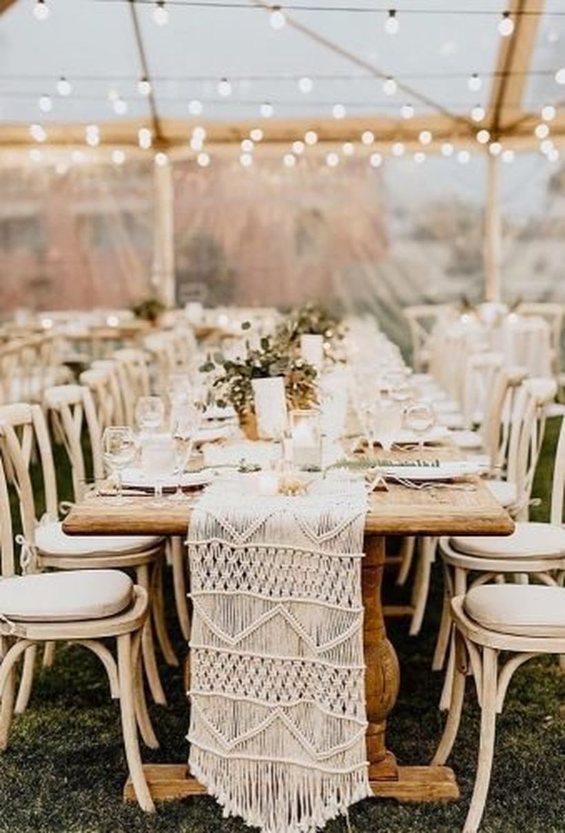 White knit fabric and string lamps decoration