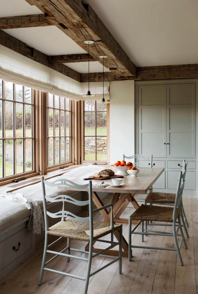 Big windows combined with white walls to perfect your dining room