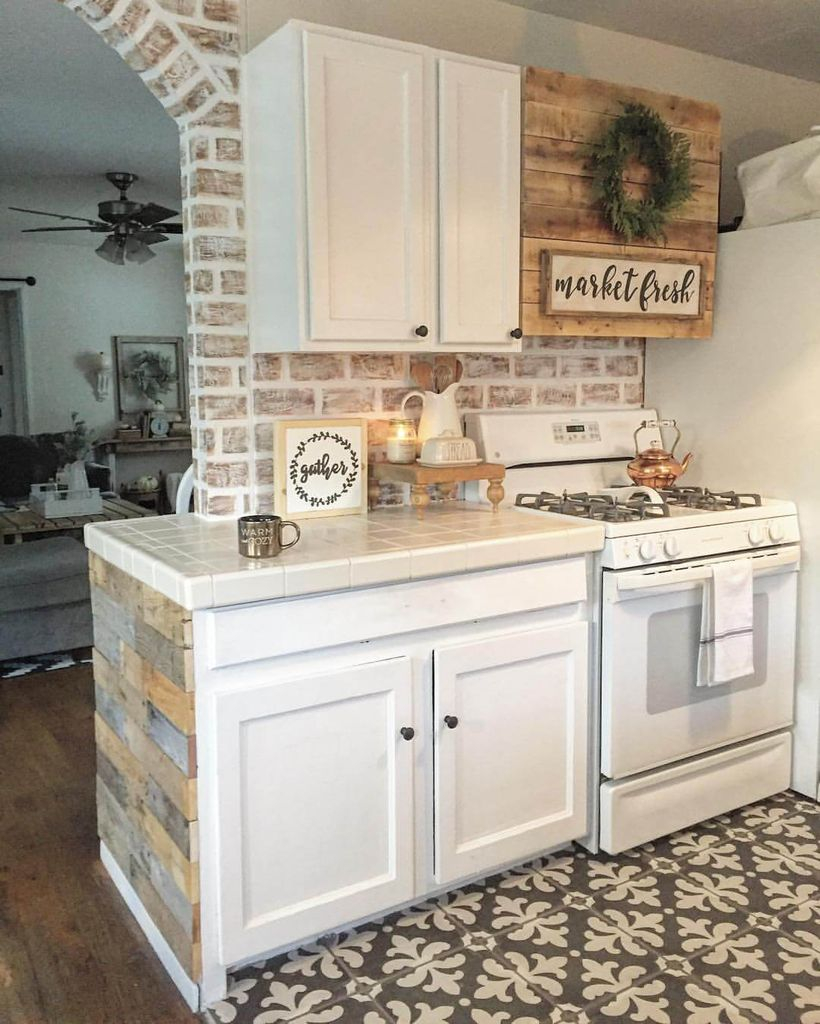 Brick walls combined with white cabinets