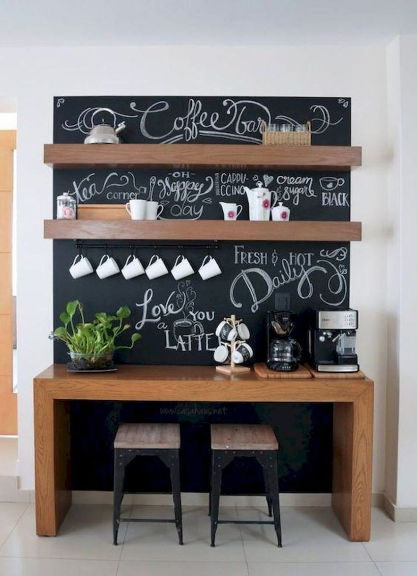 Brown wooden coffee bar combined with black board, wooden shelf and small wooden chairs