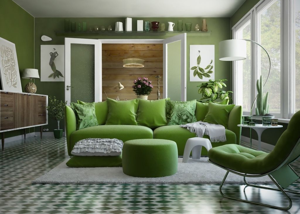 Comfy-green-living-room-couch