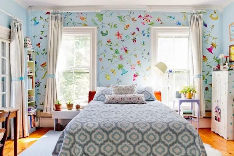 Flowering-flowers-mural-two-windows-for-kids-room.