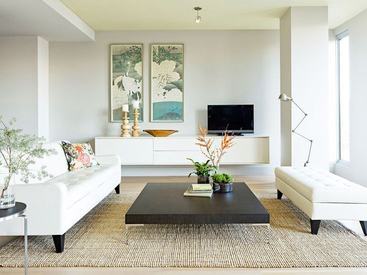 Georges-painting-for-your-home-decoration-with-modern-painting-a-pale-gray-with-the-slightest-touch-of-green-white-sofas-carpet-burlap-and-long-white-cabinet.