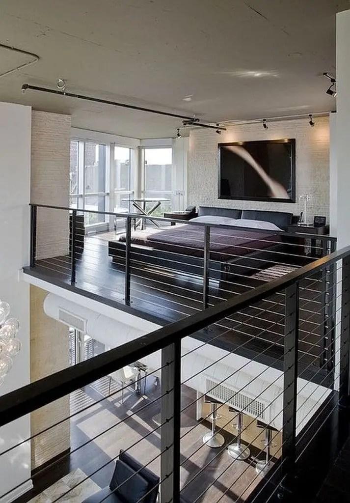 Loft bedroom with iron fences