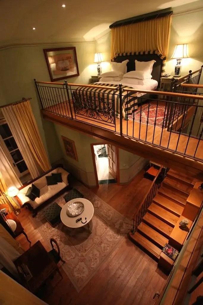 Loft bedroom with patterned carpet