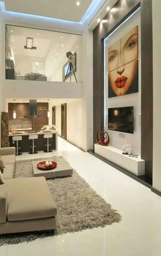 Modern loft bedroom with glass walls