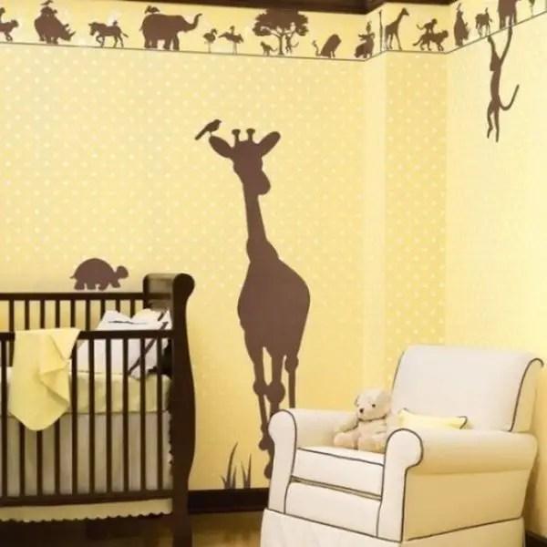 Polka-dot-wall-and-animal-mural-for-your-kids-room.