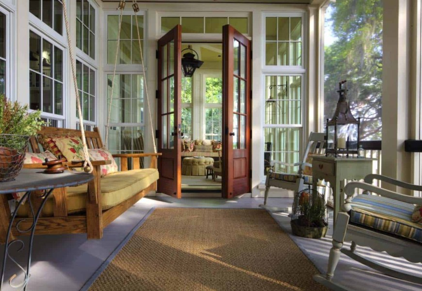 Screened porch design ideaswith swing wooden bed and white wooden chairs