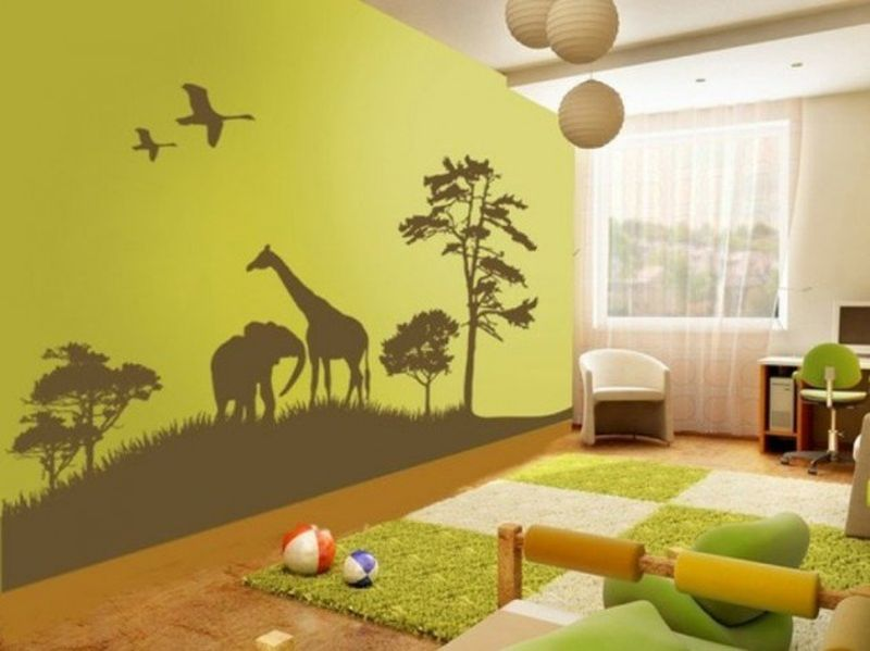 Whites-and-light-green-theme-natural-and-animal-mural-for-your-kids-room.