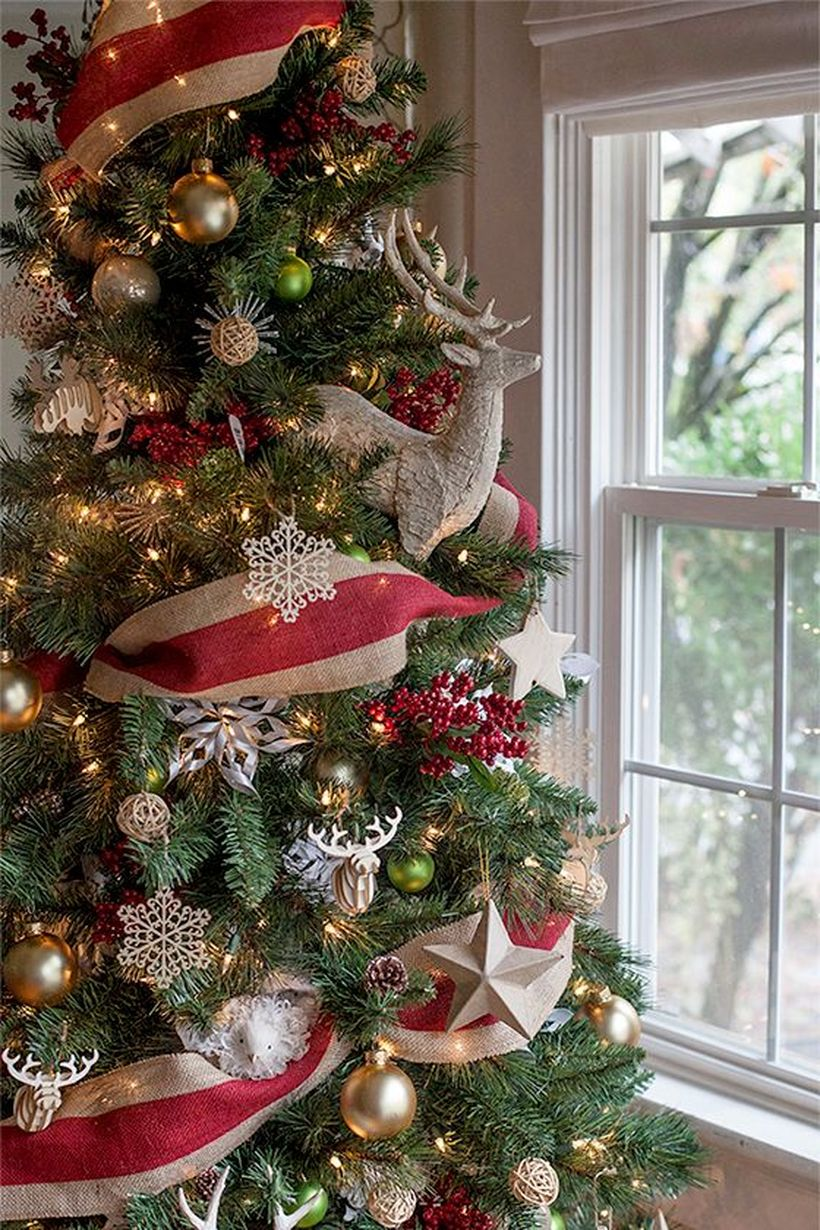 Green-christmas-tree-decoration-with-lots-of-ornaments-in-snow-ornament-bell-ornament-deer-ornament-and-star-ornament-for-you-to-know-while-celebrating-merry-christmas