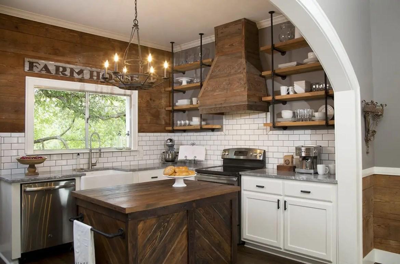 Grey-granite-countertop-and-wooden-kitchen-island