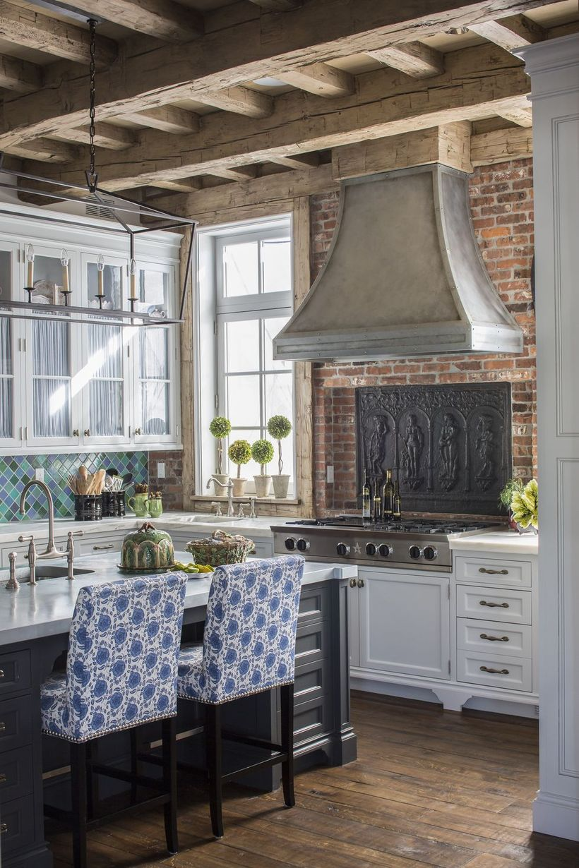 Inspired-kitchen-that-integrates-with-a-boho-style-table-with-a-unique-pattern-of-blue-base-chairs-to-make-it-look-attractive-in-your-kitchen