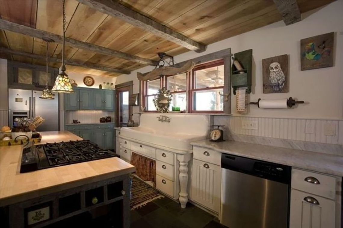 Light-grey-countertop-and-long-classic-sink