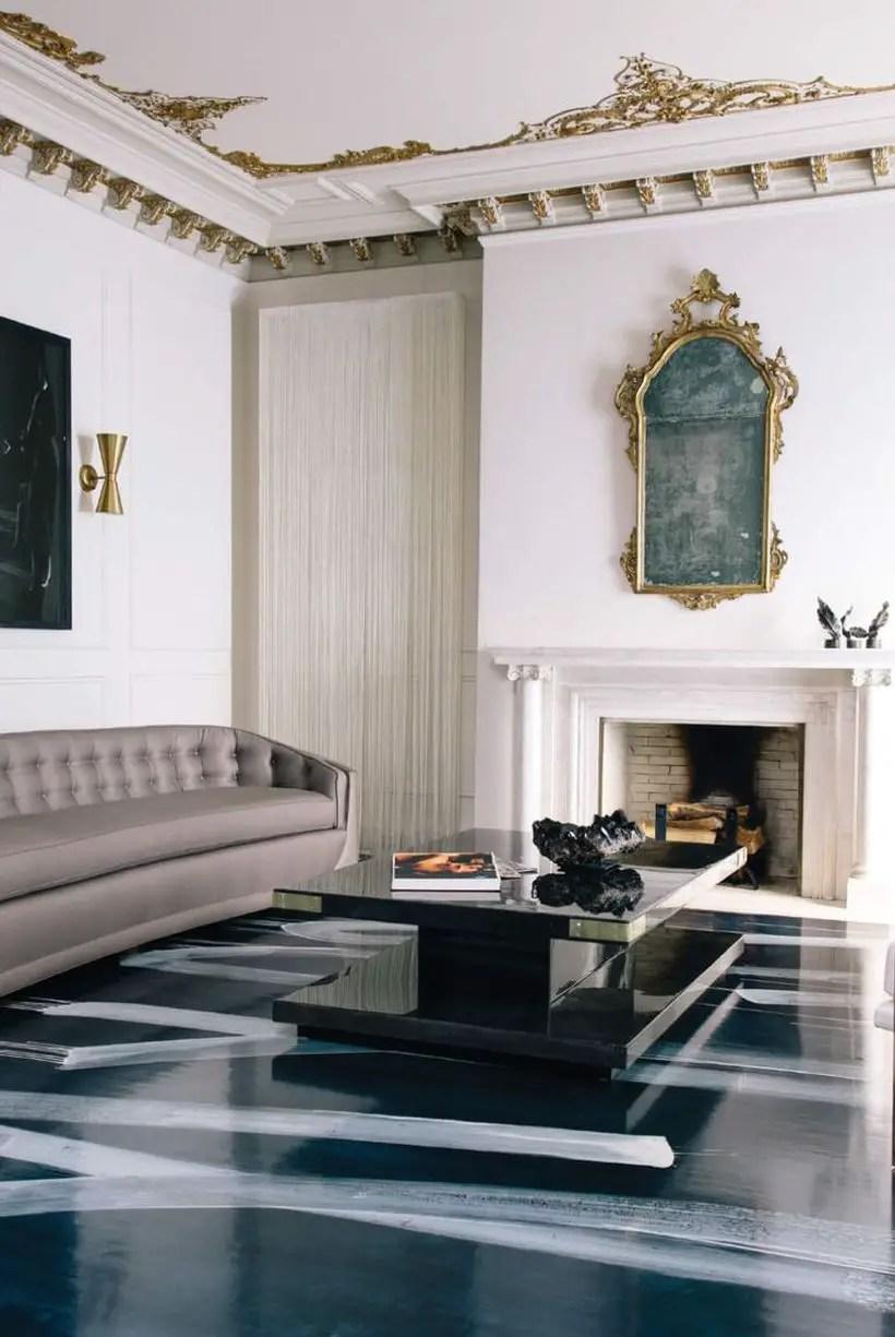 Long-black-coffee-table-and-brown-sofa