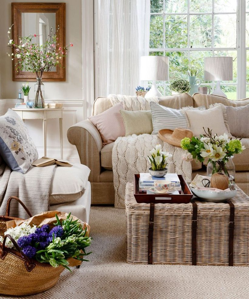 Neutral-traditional-living-room-design-with-a-combination-of-beige-sofa-and-coffee-table-from-wicker-that-makes-you-feel-at-home