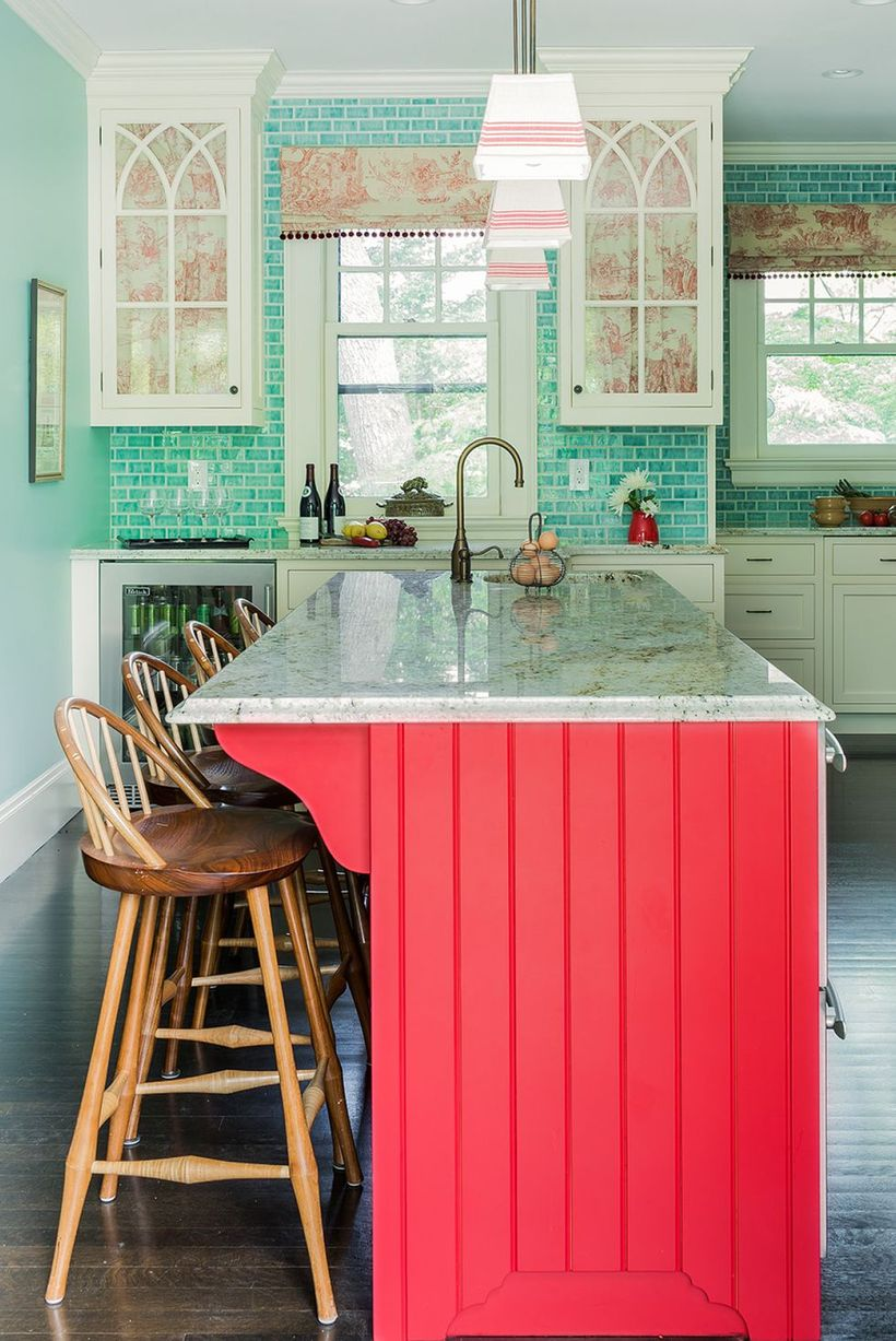 Simple-kitchen-bohemian-style-with-pink-kitchen-island-and-wooden-stool-chair