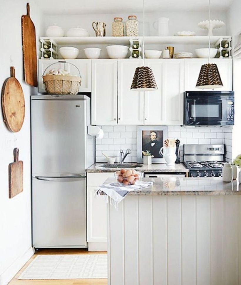 Small-white-kitchen-with-white-kitchen-cabinet-and-wooden-light-blue-kitchen-island-for-your-needs-in-the-kitchen