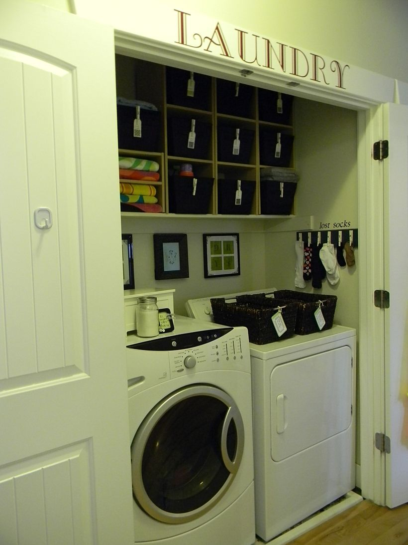 Small white laundry room decoration