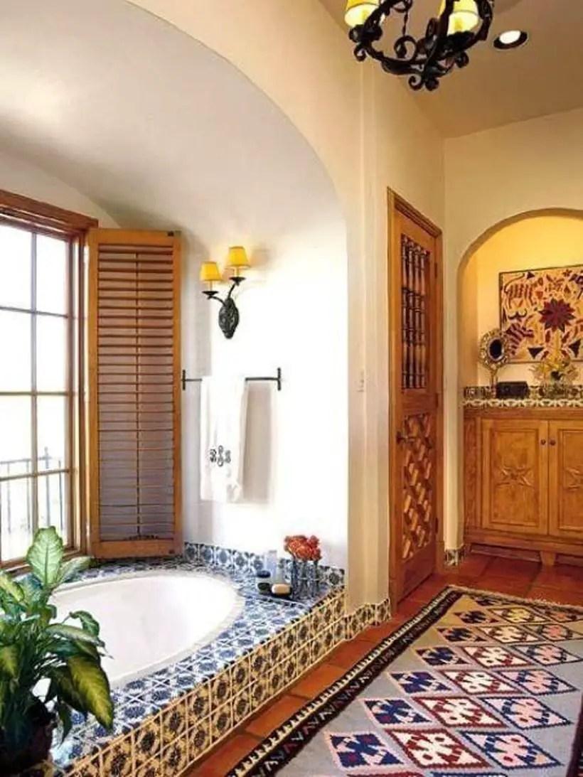 Unique-bathtub-with-a-bohemian-theme-and-add-a-unique-motif-rug