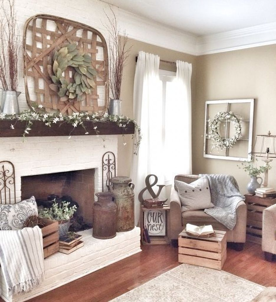 Farmhouse fireplace with woven wreath