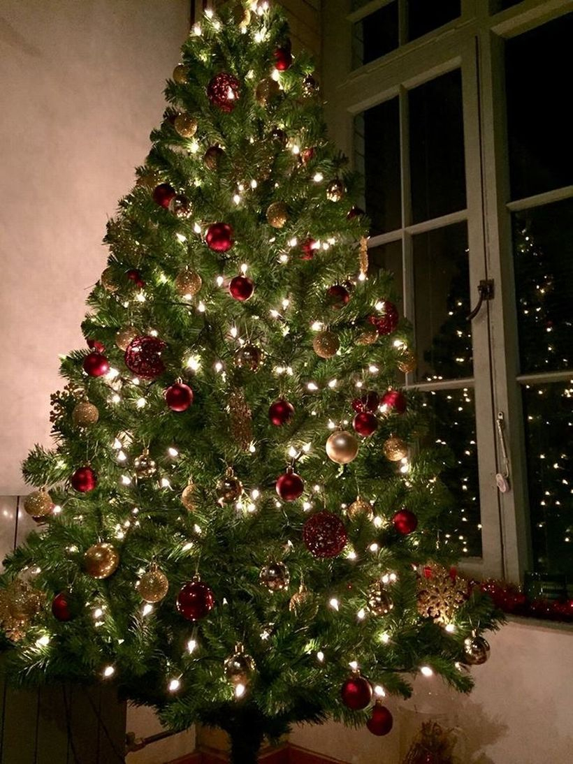 Green chrismast with red roun orament and light