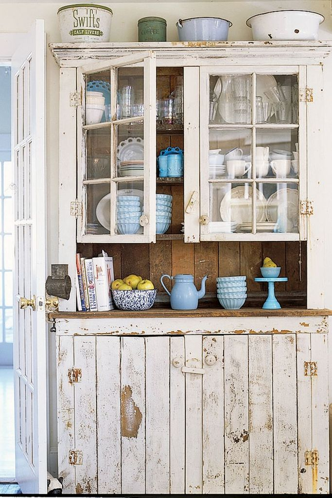 Kitchen with a vintage-style kitchen cabinet