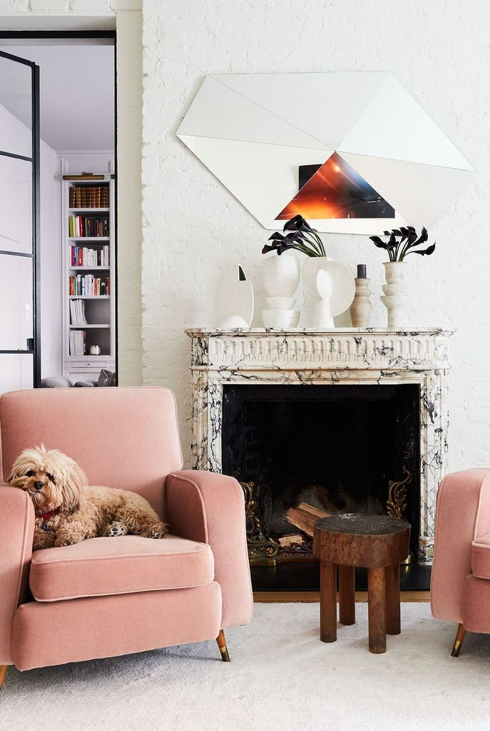 Modern art fireplace combined with wall decoration above it