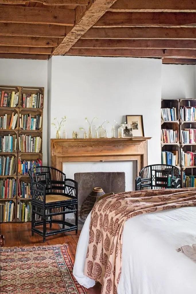 Rustic bedroom design with wooden bookshelves