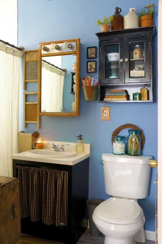 Small rustic bathroom with blue walls