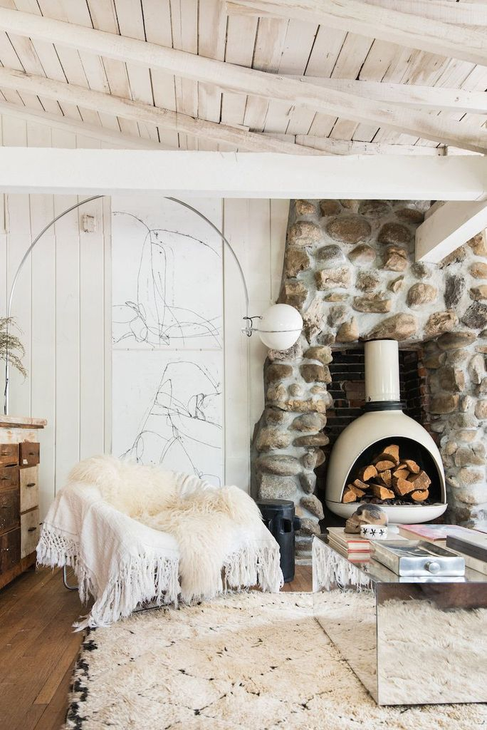 Traditional stone fireplace decoration