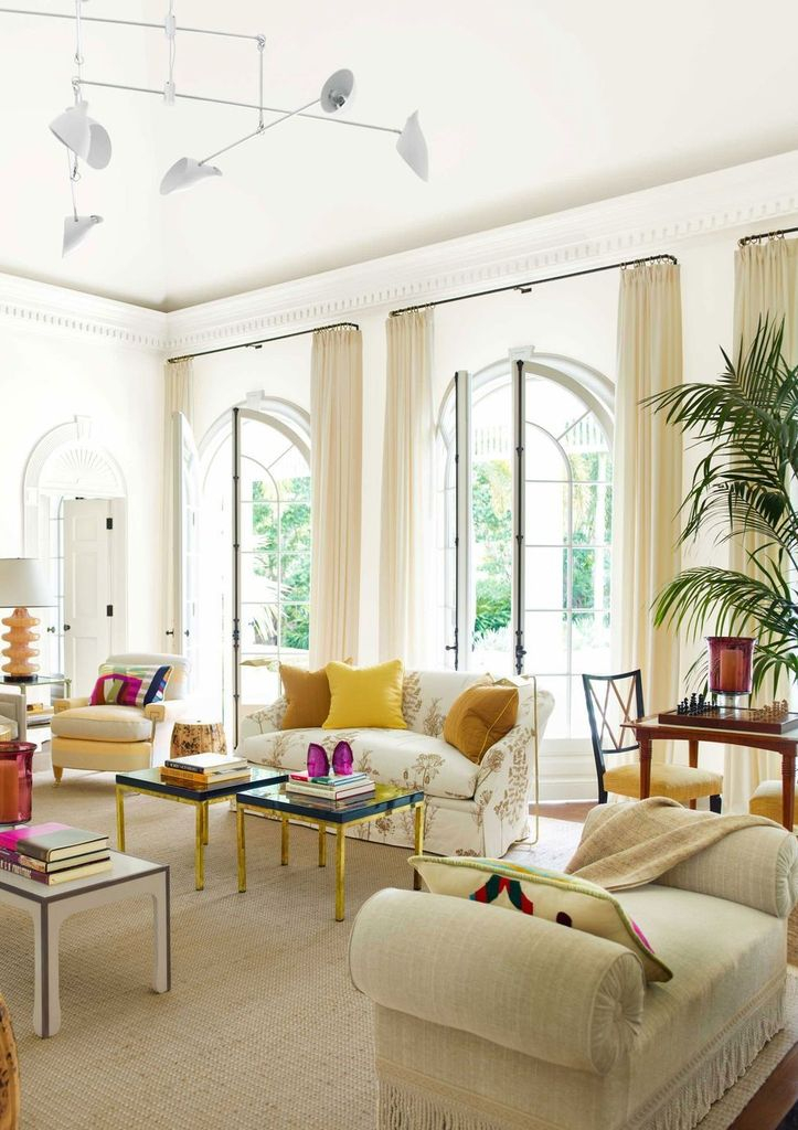 White living room with tropical style