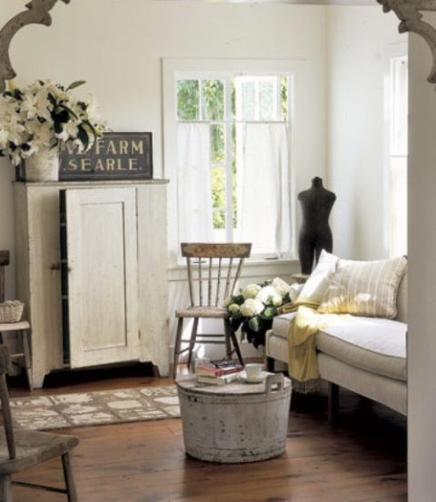 White vintage living room design