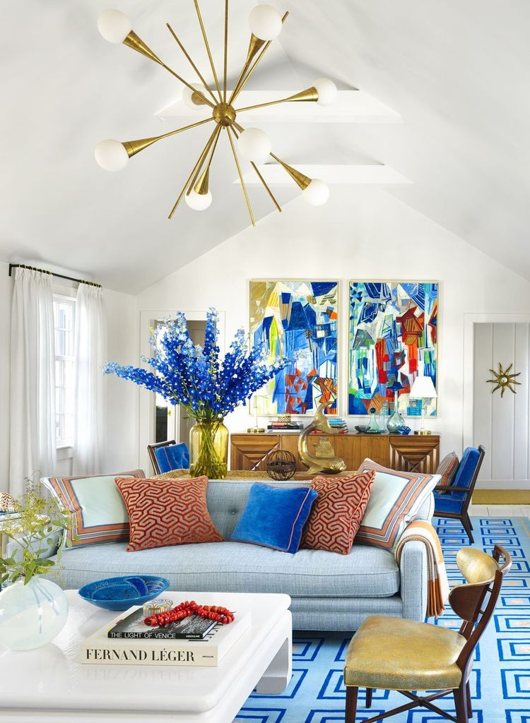 White walls with colorful wall decoration