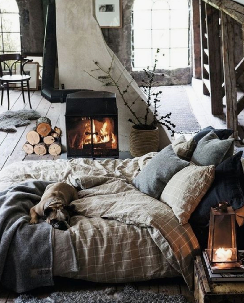 Winter bedroom with small fireplace