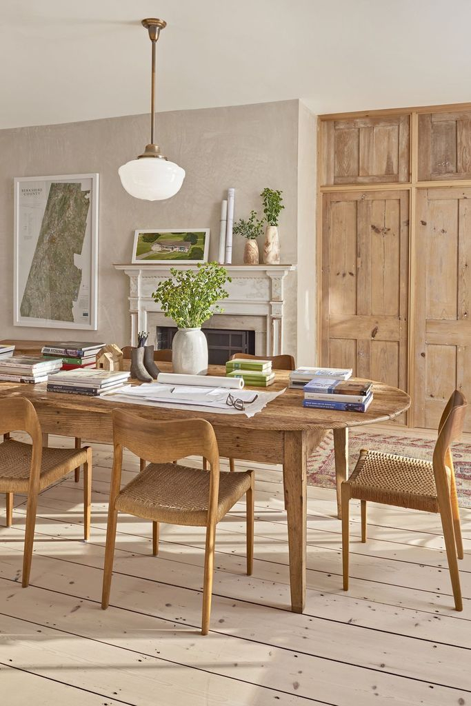 Farmhouse style office with wooden floor
