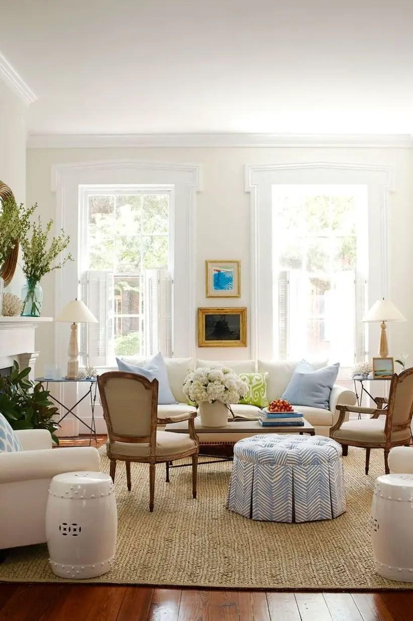 Light blue motif cushion and white sofa