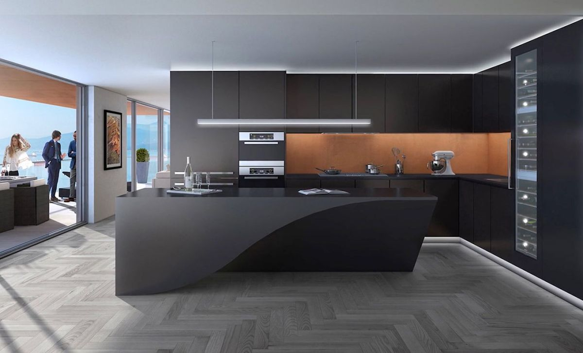 Stray-from-the-straight-and-narrow-like-this-sleek-black-kitchen-island-with-seductive-curves.