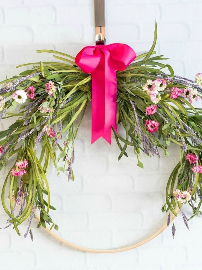 Floral-embroidery-hoop-wreath-pink-ribbon