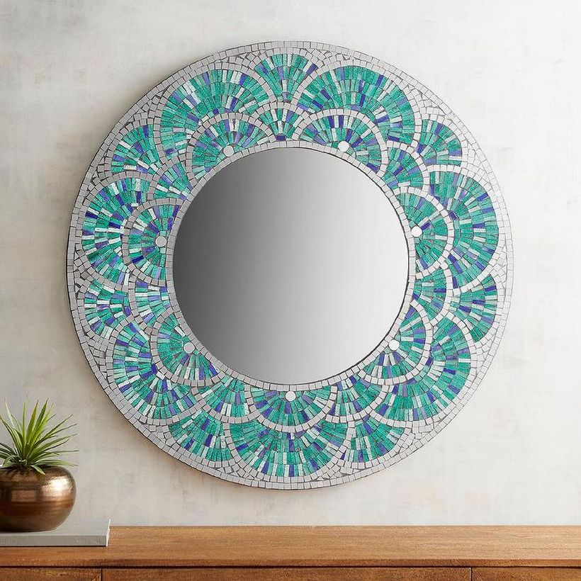 Glass-peacock-round-mosaic-blue-tiles-mirror