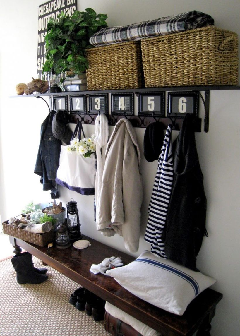 Shoe-storage-under-wood-entryway-bench-seat-and-clothing-hooks-with-shelves-ideas-783x1096