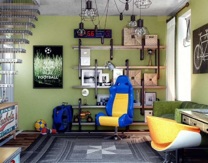 Basement teenage bedroom with plenty of seating without feeling too cluttered 3