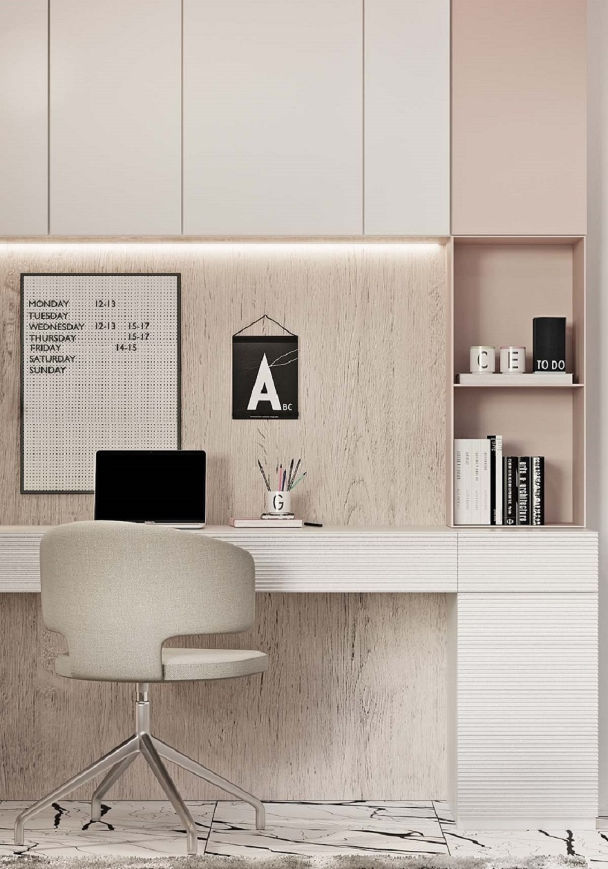 Luxurious kid's bedroom with study space in neutral colors that anyone will love 3