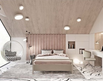 Luxurious kid's bedroom with study space in neutral colors that anyone will love