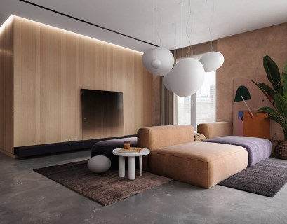 Mind-blowing beige apartment interior that brings certain warmth to a modern room scheme