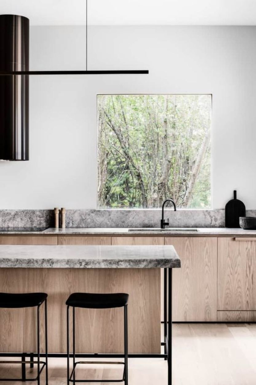 Biophilic kitchen with a window