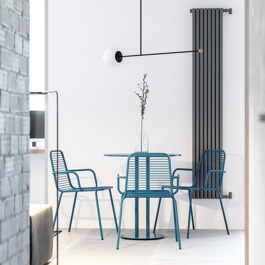 55 square metres house with blue and grey interior that either men or women can stay 2