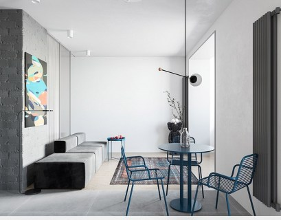 55 square metres house with blue and grey interior that either men or women can stay